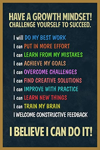 Have A Growth Mindset Student Welcome Learning Motivational Classroom Educational Homeschool Cool Wall Decor Art Print Poster 24x36