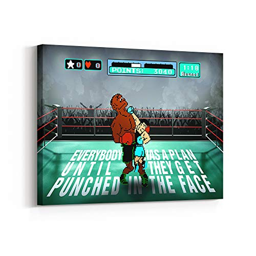 Inktuitive 'Punch Out' Inspirational Wall Art | Video Game Canvas Print | Motivational Décor for Bedroom, Living Room & Business Office | 16 x 12 Inches
