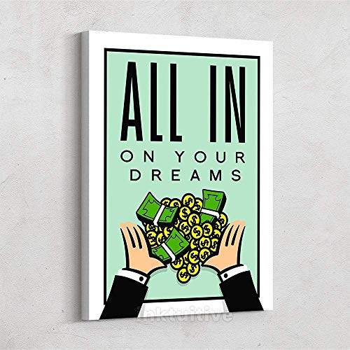 Inktuitive 'All in On Your Dreams' Inspirational Wall Art | Monopoly Money Quote Canvas Print | Motivational Décor for Bedroom, Living Room & Business Office | 16 x 12 Inches