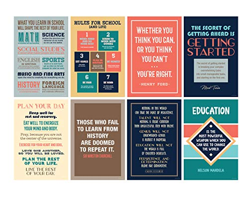 Focus and Zeal Motivational Poster for School, Classroom and Office Inspired by Historically Famous Leaders and Thinkers - Size: 12x18 in, Set of 8