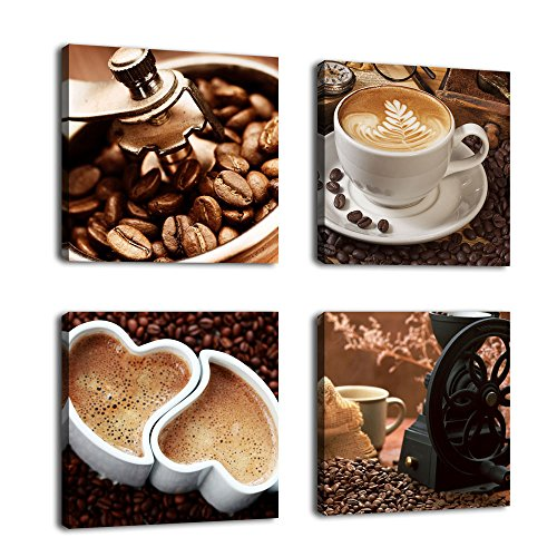 "Kitchen Canvas Wall Art Coffee Bean Coffee Cup Coffee Grinder Canvas Pictures Large Modern Artwork Prints for Dining Room Home Decorations 16"" x 16"" x 4 Pieces Framed Ready to Hang"