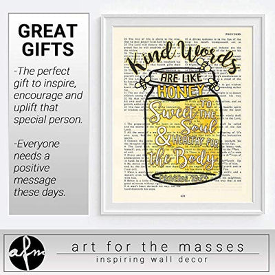 Kinds Words Are Like Honey, Sweet to the Soul, Proverbs 16:24, Christian Unframed Reproduction Art Print, Vintage Bible Verse Scripture Wall and Home Decor Poster, Inspirational Gift, 8x10 inches