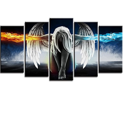 Fire and Ice Water Angel Wall Art for Living Room, SZ 5 Panel Abstract Anime Oil Painting Canvas Prints of Beautiful Wing Girl Picture (Bracket Mounted, Waterproof Decor, Large Artwork, 60x32 overall)