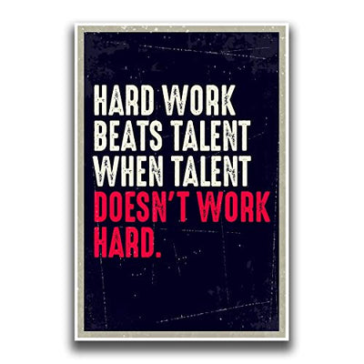 JSC163 Hard Work Beats Talent When Talent Doesn't Work Hard Poster | 18-Inches by 12-Inches | Premium 100lb Gloss Poster Paper