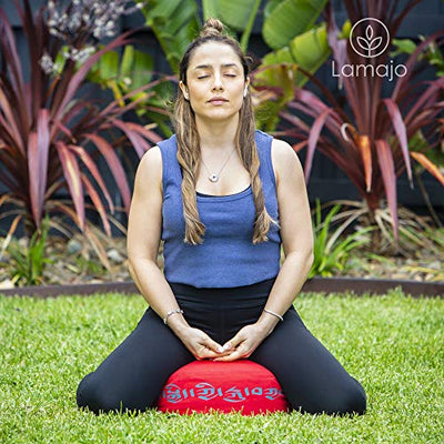 "Lamajo Large Round Meditation Cushion 14"" Extra-Soft Adjustable Red Seat Cushion and Supportive Buckwheat Filled Yoga Pillow for Added Comfort, Yoga Block - Unique Tibetan Script Design"