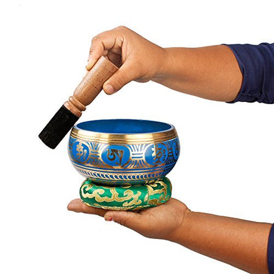 Tibetan Singing Bowl Set - Cool Blue Design