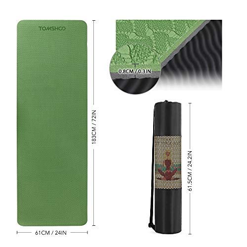 TOMSHOO 8mm Yoga Mat, Non-Slip Texture Pro Yoga Mat Eco Friendly Exercise Mat Pad with Carrying Strap and Mesh Bag for Home Gym Fitness Workout Pilates