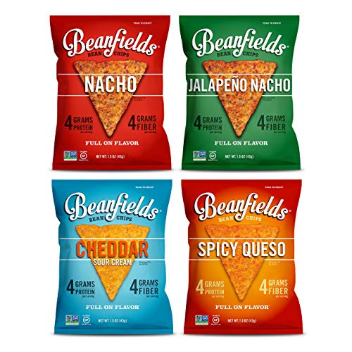 Beanfields Bean Chips, High Protein and Fiber, Gluten Free, 4 Flavor Vegan Cheese Snack Pack: Jalapeño Nacho, Nacho, Cheddar Sour Cream, Spicy Queso, 1.5oz Pack of 24