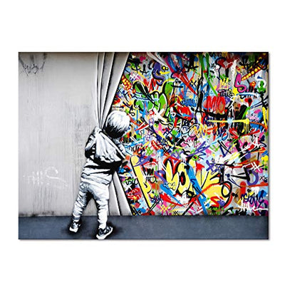 Yatsen Bridge Classic Street Art Banksy Graffiti Wall Art Behind The Curtain Posters Canvas Paintings Colorful Graffiti Pictures Prints Stretched and Framed for Living Room Home Decor(36''W x 24''H)