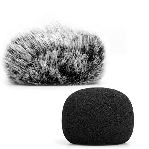 ChromLives H1 H1N Windscreen Microphone Furry Windscreen Muff Wind Cover + Foam Microphone Windscreen Cover for Zoom H1 H1n Apogee Mic and More, Furry & Foam 2Pack (H1 windscreen)