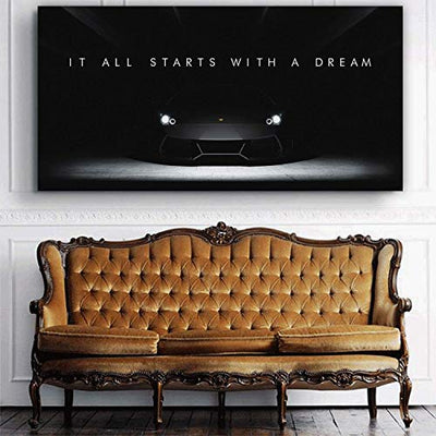"Lamborghini Dreams Office Decor Motivational Wall Art Canvas Print Inspirational Quote Supercar (20"" x 40"")"