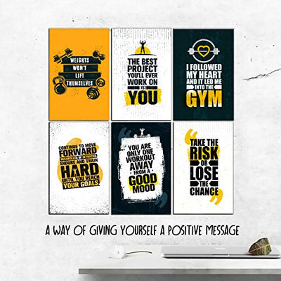 Set Of 6 11x17 Inspirational Gym Posters | Motivational Fitness Wall Art For Home Gym Decorations | Bodybuilding Poster For Teens | Workout Prints With Motivation Quotes For Room Decor