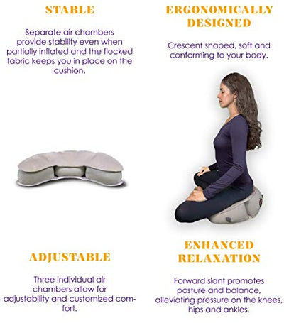 Air Meditator Inflatable Meditation Cushion and Travel Pillow – Meditate on Air in Total Comfort - Black