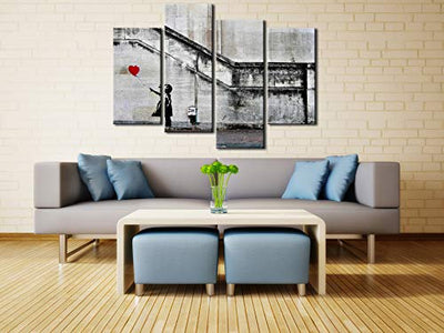 Pyradecor Banksy Grafitti Girl with Red Balloon Large 4 Panels Modern Stretched Canvas Prints Artwork Grey Love Pictures Paintings on Canvas Wall Art for Office Home Decorations L