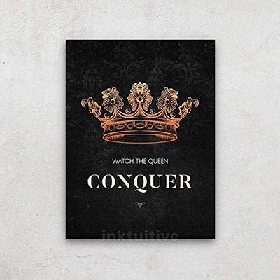 Inktuitive 'Queen Up' Inspirational Wall Art | Girl Power Canvas Print | Motivational Décor for Bedroom, Living Room & Business Office | 16 x 12 Inches