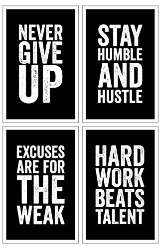 Set of 4 Motivational Posters - 11x17 Inches