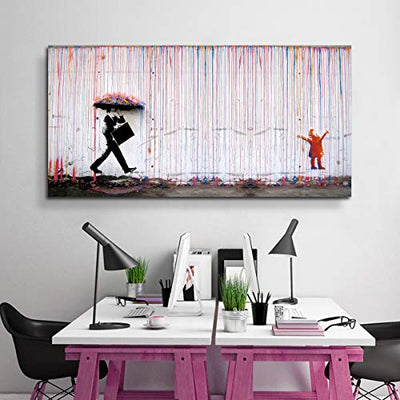 Banksy Canvas Print Colorful Rain Graffiti Wall Art Print Gallery Wrapped Image Mural Artwork for Home Decoration Modern Framed Poster Gift (Banksy Artwork 5, 20x40 Inch)