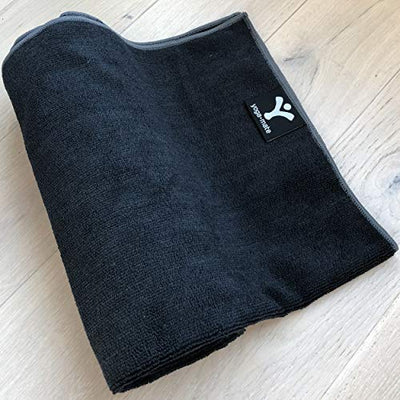 The Perfect Yoga Towel - Super Soft, Sweat Absorbent, Non-Slip Bikram Hot Yoga Towels | Perfect Size for Mat - Ideal for Hot Yoga & Pilates! (Black w/Grey Trim)