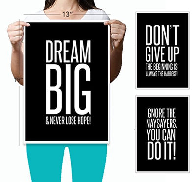 Ignore The Naysayers (13 x 19) Famous Quotes 3 Poster Set Teen Boy Girl Sports Wall Art Decorative Prints Black White Workout Fitness Wall Decor Home Office Business Classroom Dorm Gym Entrepreneur