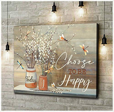 Drag0nnfly Today I Choose to Be Happy Gift Art Wall Poster Canvas Framed (14x11)