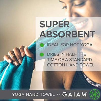 Gaiam Yoga Hand Towel, Granite Storm/Citron