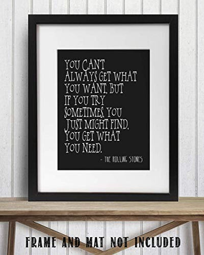 "Rolling Stones-""You Can't Always Get What You Want""- Song-Word Art-8 x 10"" Wall Print-Ready To Frame-Typographic Music Poster Print. Home Decor-Studio-Bar-Man Cave Decor. Perfect for All Stones Fans."