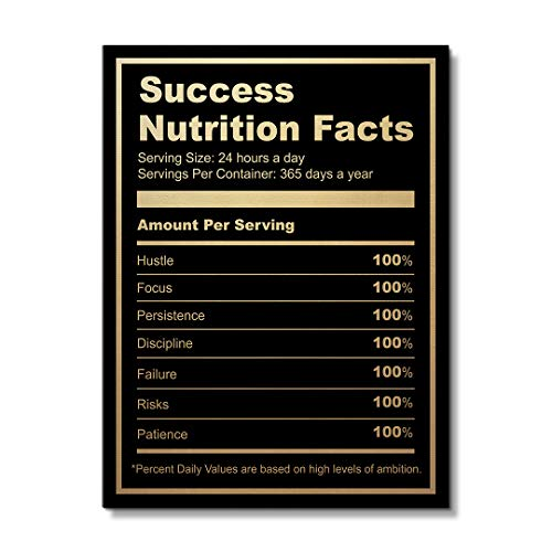 "IKONICK Ingredients for Success Motivational Canvas Wall Art, Inspiration Collection for Office and Home Decor, Inspiring Canvas Art - 12"" x 18"".75"" Depth No Frame"