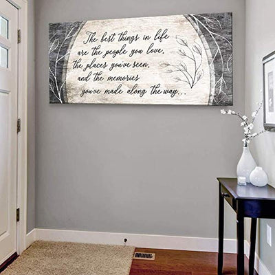 Sense of Art | The Best Things in Life are The People You Love Quote | Wood Framed Canvas | Ready to Hang Family Wall Art for Home and Bedroom Decoration (42x19, Brown)…