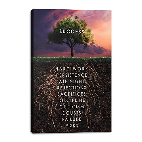 Yetaryy Success Tree Inspirational Quote Canvas Wall Art