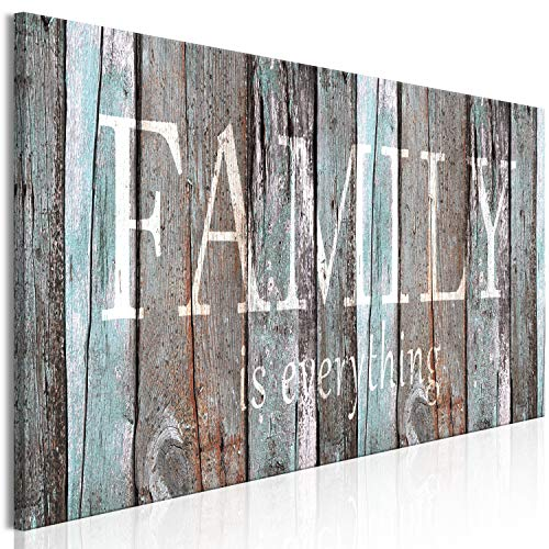 "artgeist Canvas Wall Art Quotes Family 120x40 cm / 47.2""x15.7"" 1 pcs Home Decor Framed Stretched Picture Photo Painting Artwork Image - Family House Faux Wood m-A-0956-b-a"