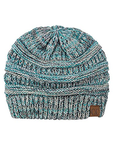 C.C Trendy Warm Chunky Soft Stretch Cable Knit Beanie Skully, 3 Tone Teal