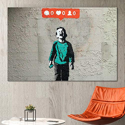 "wall26 - Canvas Print Wall Art - Banksy Street Artwork on Canvas Stretched Gallery Wrap. Ready to Hang (24"" x 36"", Nobody Likes me)"