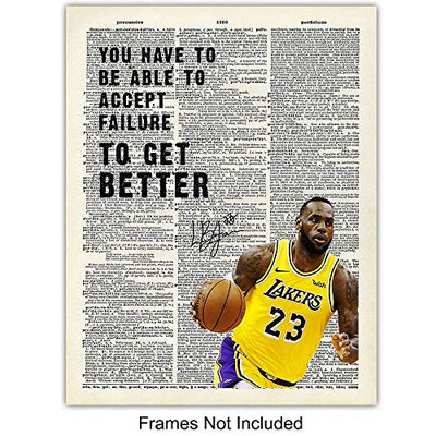 Lebron James Motivational Quotes Dictionary Art Print Set - 8x10 Photo Pictures - Wall, Home, Office Decor, Decoration - Gift for Men, Boys, LA Lakers Basketball Fan, Coach - 4 Unframed Sports Posters