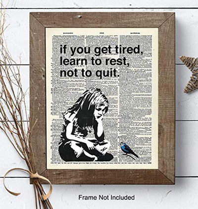Banksy Rest Don't Quit - Unframed Dictionary Wall Art Print - Makes a Great Gift for Home Decor, Living Room, Bedroom - Ready to Frame (8X10) Vintage Photo - Girl with Bird