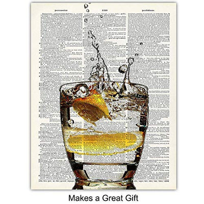 Upcycled Bar Dictionary Wall Art Prints - Set of Four (8X10) Vintage Unframed Photos - Perfect Gift for Game Room, Bar, or Man Cave Decor - Wine
