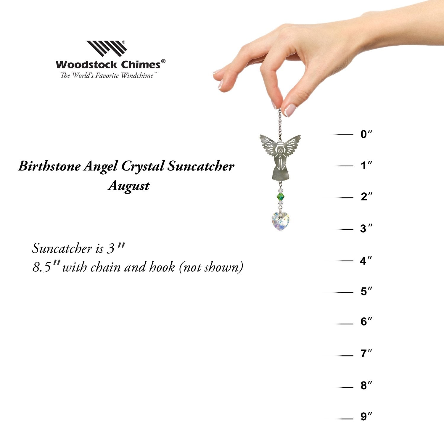 Birthstone Angel Crystal Suncatcher - August proportion image