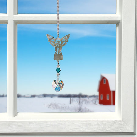 Birthstone Angel Crystal Suncatcher - December proportion image