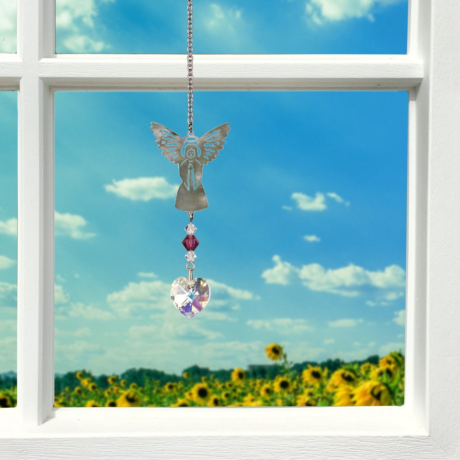 Birthstone Angel Crystal Suncatcher - February lifestyle image