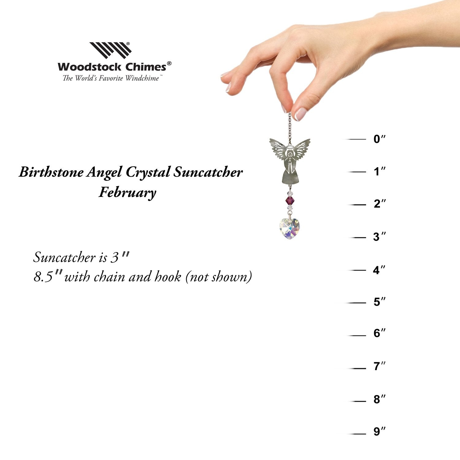 Birthstone Angel Crystal Suncatcher - February proportion image