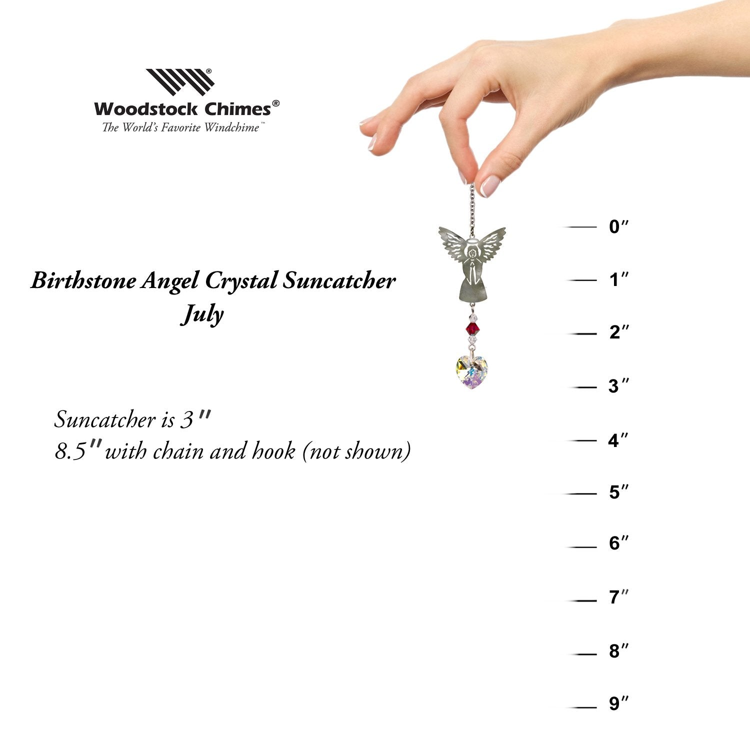 Birthstone Angel Crystal Suncatcher - July proportion image