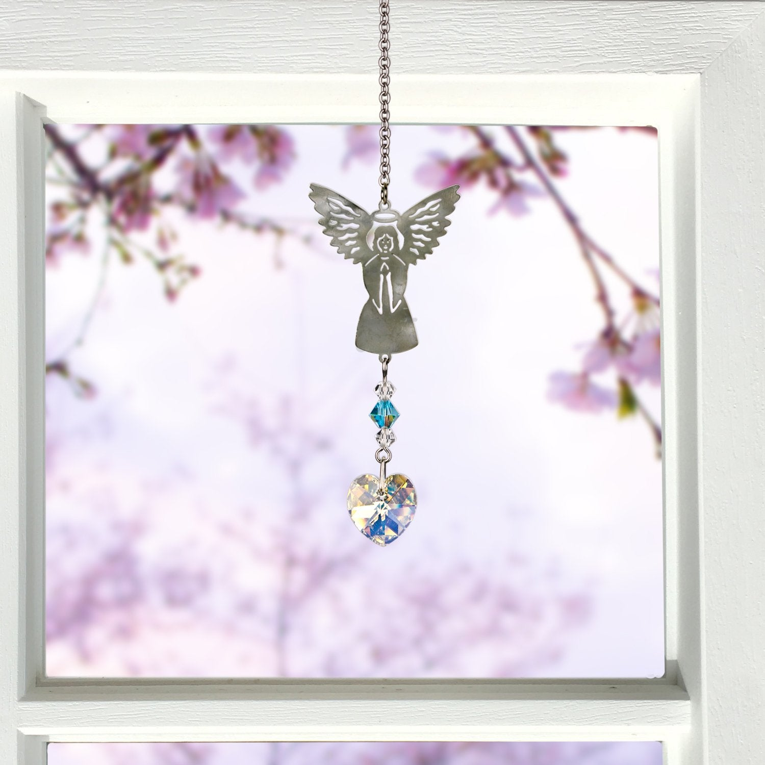 Birthstone Angel Crystal Suncatcher - March lifestyle image