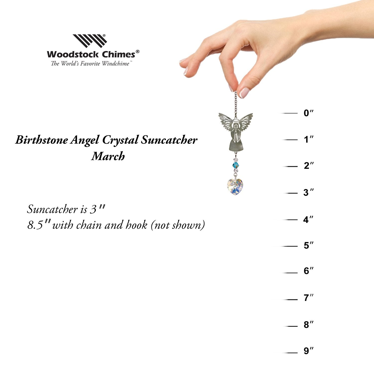 Birthstone Angel Crystal Suncatcher - March proportion image