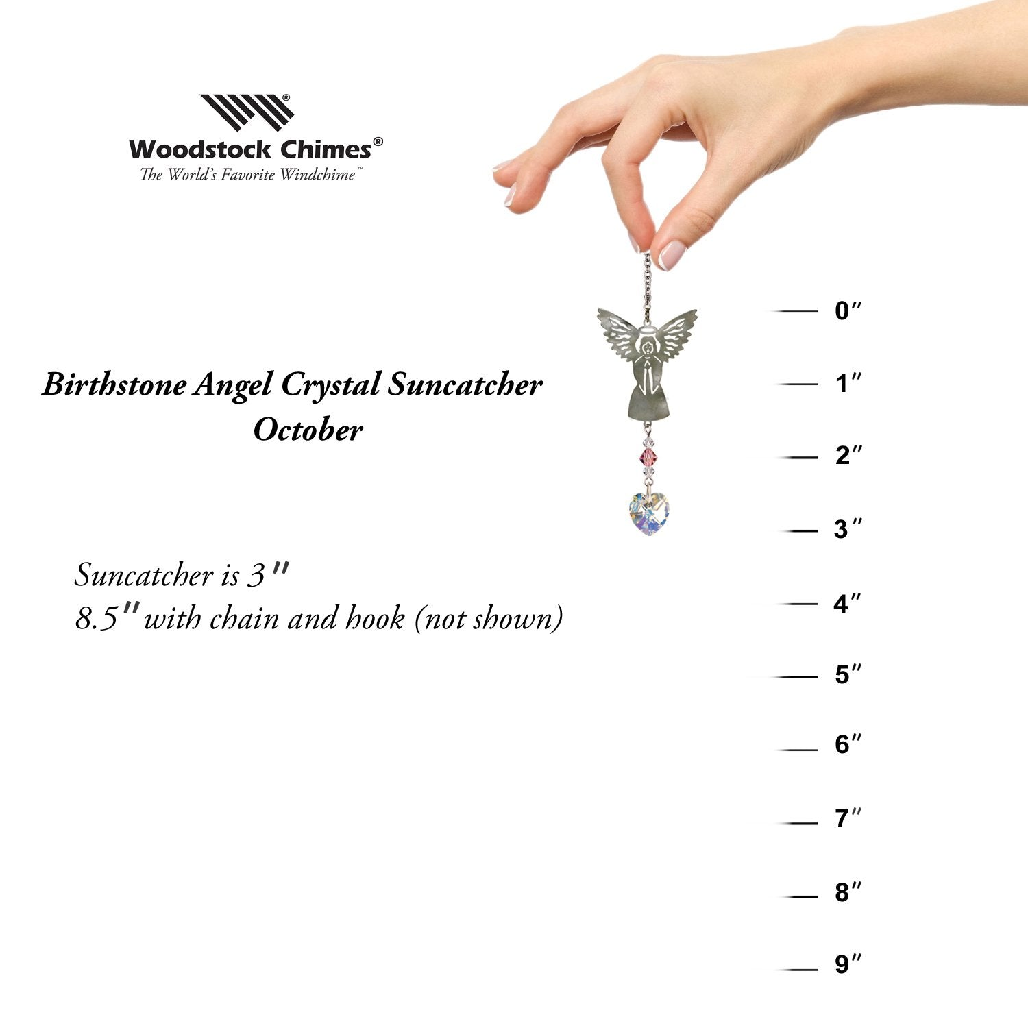 Birthstone Angel Crystal Suncatcher - October proportion image
