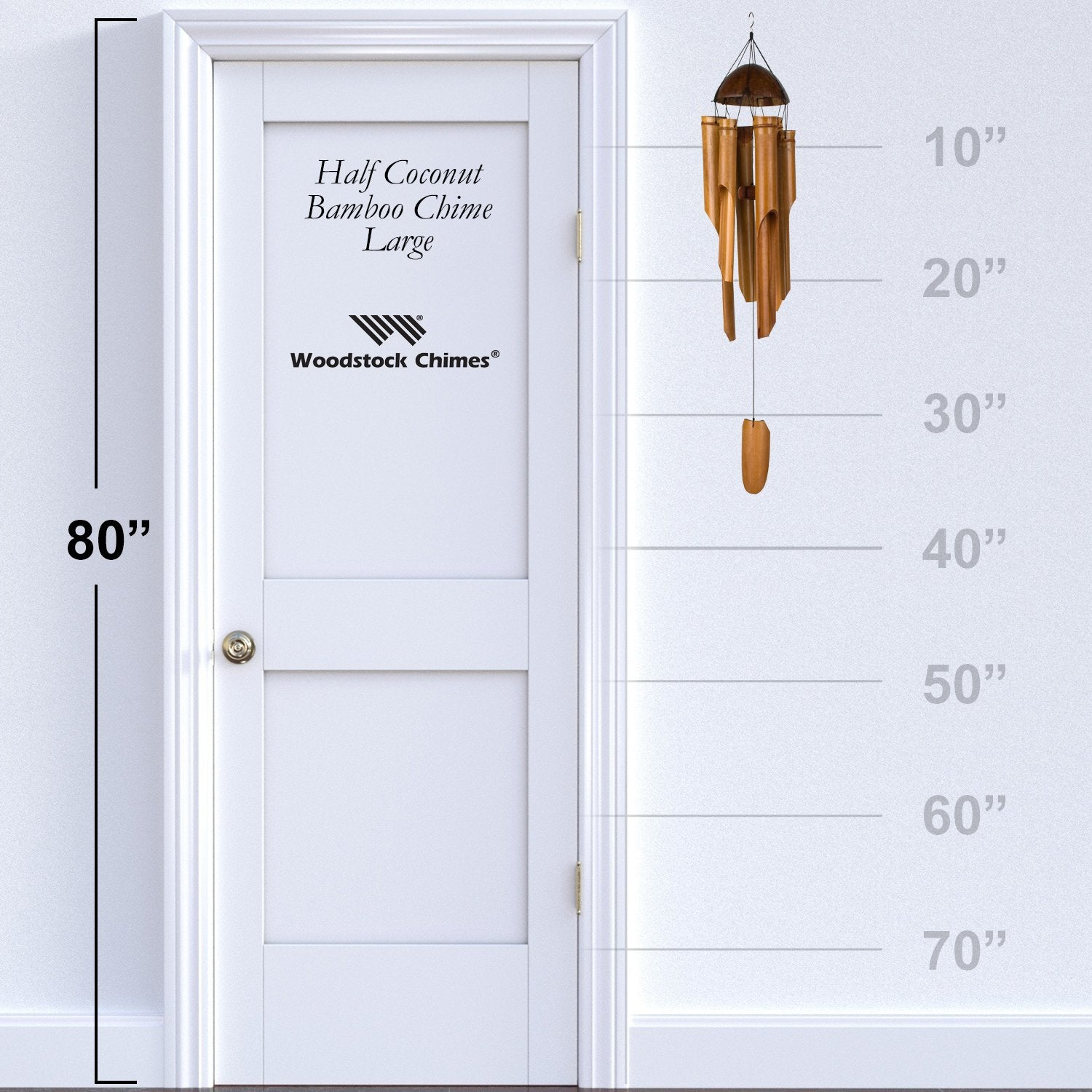 Half Coconut Bamboo Chime - Large proportion image