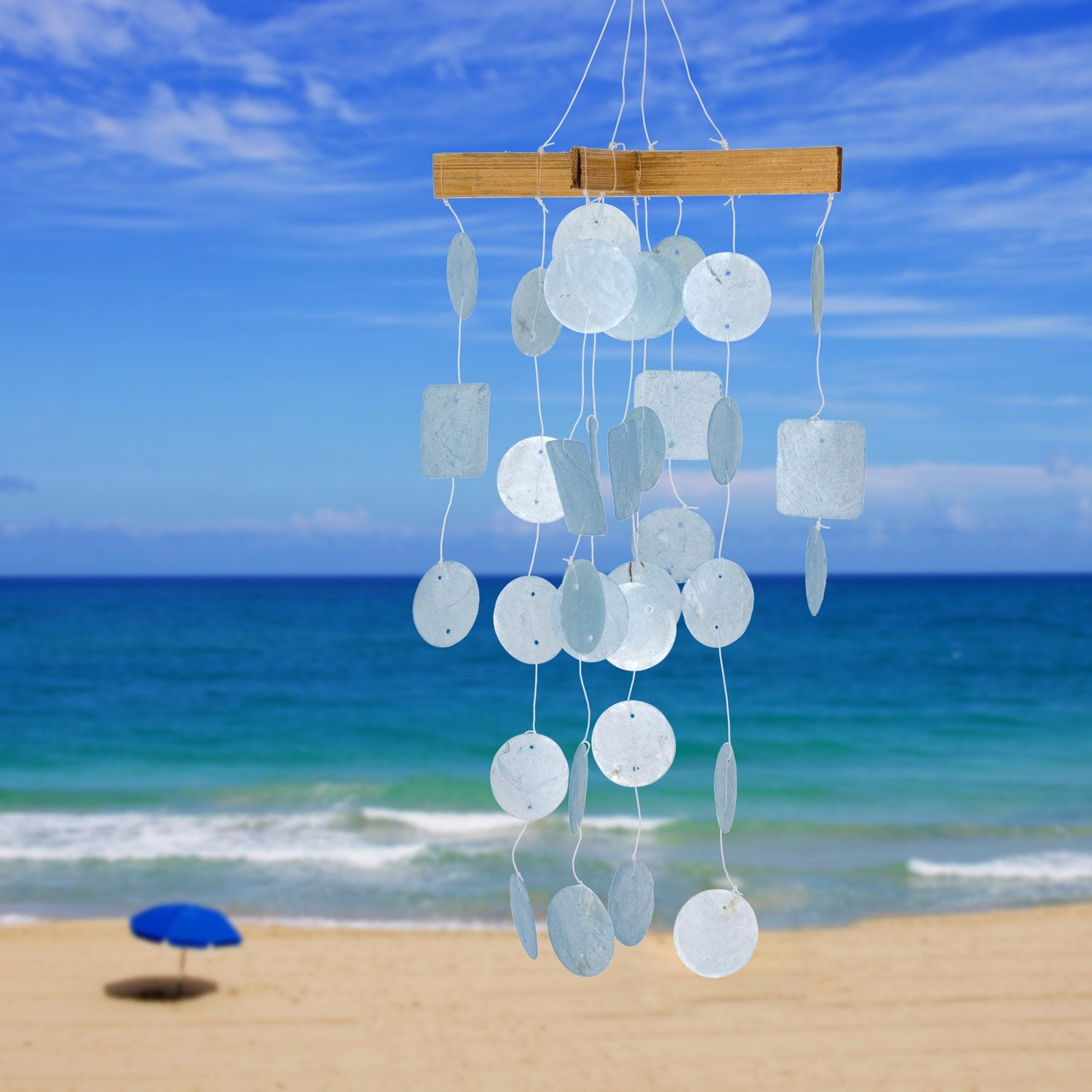 Mini Capiz Chime - Light Blue lifestyle image