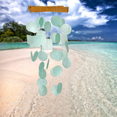 Mini Capiz Chime - Aqua proportion image