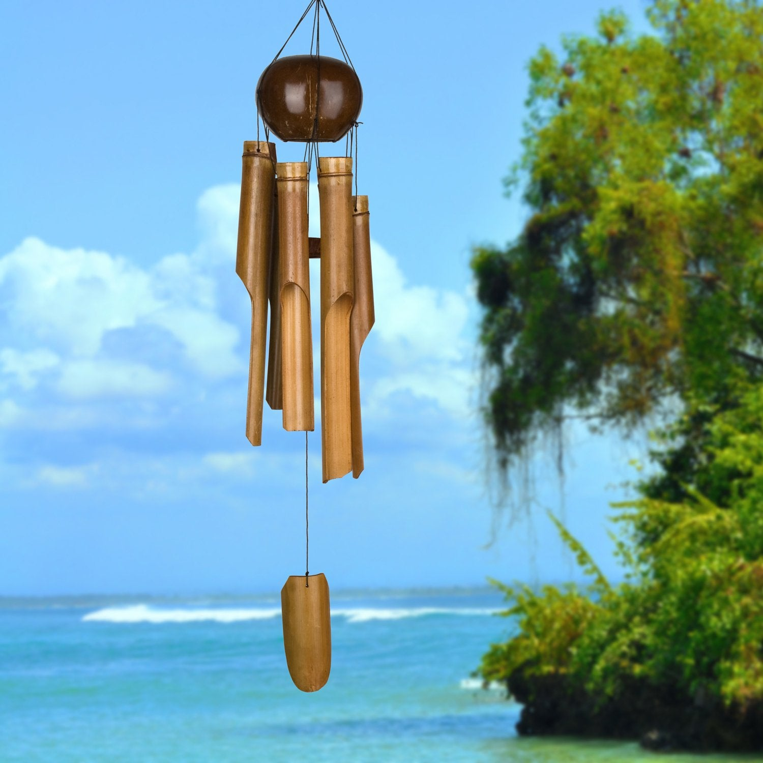 Whole Coconut Bamboo Chime - Large lifestyle image