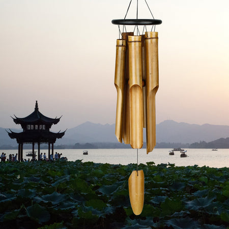 Black Ring Bamboo Chime - Large proportion image