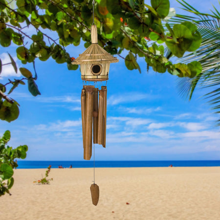 Thatched Roof Birdhouse Bamboo Chime proportion image