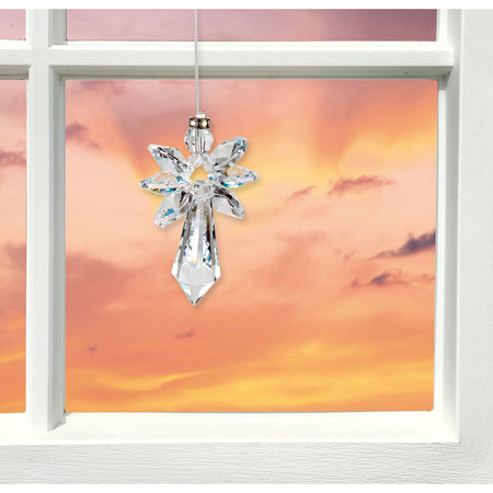Crystal Guardian Angel Suncatcher - Large, Aurora Borealis proportion image